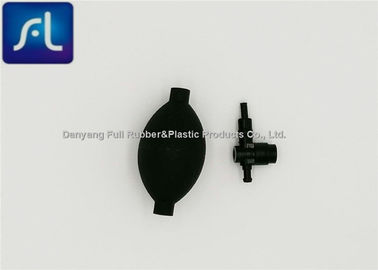 Black Rubber Blood Pressure Bulb And Valve High Performance Good Elasticity